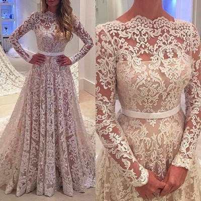 A-Line Bowknot Backless Lace Long Sleevess Glamorous Wedding Dress_3