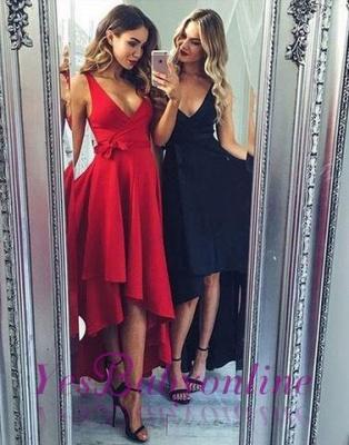 Black V-neck High-low Sashes Elegant A-line Evening Dress_1