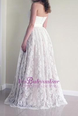 Sweetheart Cheap Sash Sleeveless Simple Long Lace A-line Wedding Dress_1