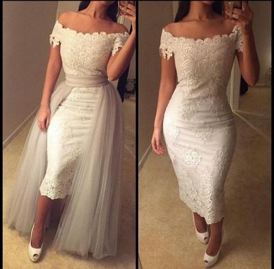 Detachable-Train Modest Lace Tea-length Off-the-shoulder Prom Dress_3