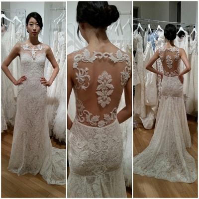 Sweep Train Lace Appliques Sleeveless Glamorous Sexy Mermaid Wedding Dress_3