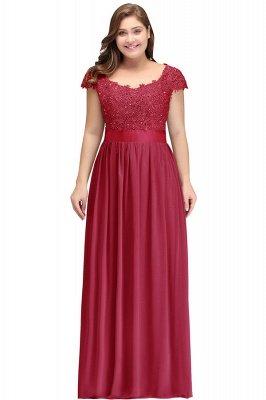 Silver A-line Chiffon Bridesmaid Dresses | Lace Sequins Beaded Cap Sleeves Bridesmaid Dress_6