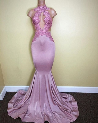 2019 Lilac Mermaid Prom Dresses Sheer Lace Appliques Sleeveless Evening Gowns_3