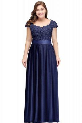 Silver A-line Chiffon Bridesmaid Dresses | Lace Sequins Beaded Cap Sleeves Bridesmaid Dress_5