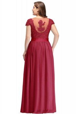Silver A-line Chiffon Bridesmaid Dresses | Lace Sequins Beaded Cap Sleeves Bridesmaid Dress_7