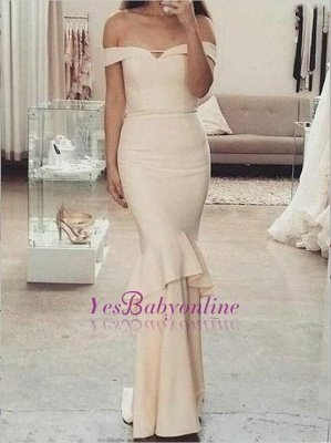 Sleeves Short Off-The-Shoulder Mermaid Elegant Ruffles Bridesmaid Dresses_1