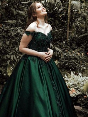 Elegant Dark Green Puffy Prom Dresses | Off-The-Shoulder Ball Gown Quinceanera Dresses_4