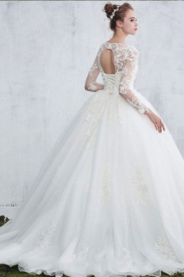 Jewel Sexy Lace Long Sleeves White Ball Gown Wedding Dresses_3