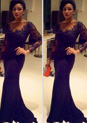 Lace Black Long-Sleeve Sheer Mermaid Elegant Evening Gown_2