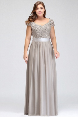 Silver A-line Chiffon Bridesmaid Dresses | Lace Sequins Beaded Cap Sleeves Bridesmaid Dress_3