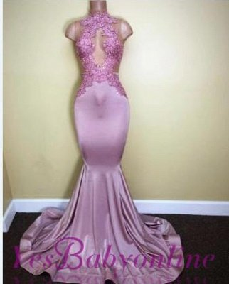 2019 Lilac Mermaid Prom Dresses Sheer Lace Appliques Sleeveless Evening Gowns_1