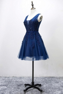 Elegant Silver Homecoming Dresses Lace Beaded  Puffy Hoco Dress_3