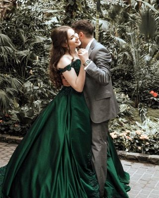 Elegant Dark Green Puffy Prom Dresses | Off-The-Shoulder Ball Gown Quinceanera Dresses_3