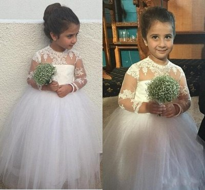Cute Long Sleeve Lace Flower Girl Dresses | Sweet Tulle Ball Gown Little Princess Gown BA6961_3