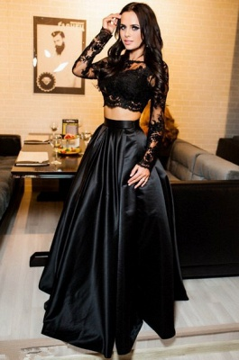Two Piece  A-line Lace Black Long-Sleeve Prom Dress_3