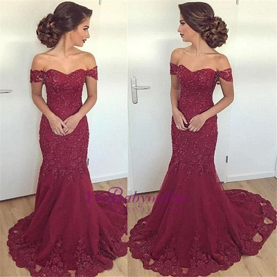 Burgundy Mermaid Long Lace Glamorous Appliques Off-the-Shoulder Evening Dress_1