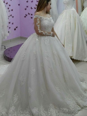 Lace-Applique Ball-Gown Long Sleevess Tulle Off-The-Shoulder Pearls Wedding Dresses_2