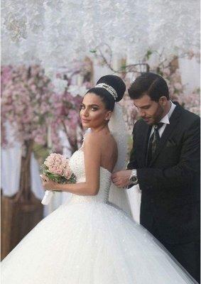 Sweetheart Glamorous Beading Sleeveless Princess Ball Gown Wedding Dress_3
