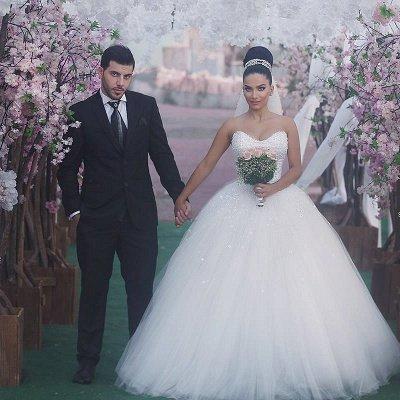 Sweetheart Glamorous Beading Sleeveless Princess Ball Gown Wedding Dress_4