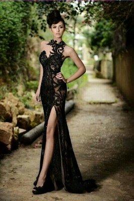 High Neck Black Mermaid Prom Dresses High Slit Applique Bling Bling Evening Gowns_1