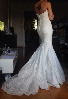 Simple Strapless lace Buttons Back Mermaid Wedding Dresses_3
