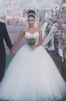 Sweetheart Glamorous Beading Sleeveless Princess Ball Gown Wedding Dress_2
