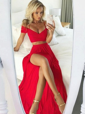 Sexy Two Pieces Red Evening Dresses   Straps Side Slit Prom Dresses_1