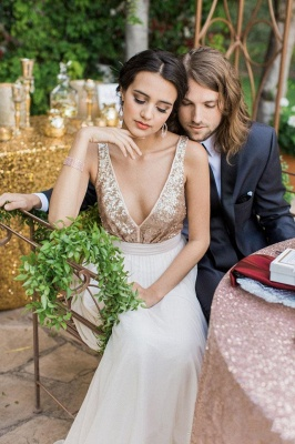Sequined Wedding Dress with Bowknot | Casual Wedding Dresses for Beach Ceremony and Barn Wedding_3