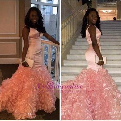 V-neck Ruffles Pink Glamorous Sleeveless Mermaid Prom Dress_1