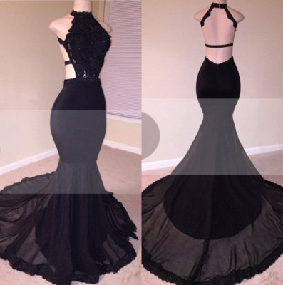 Chic Open Back Lace Black Mermaid Long Prom Dresses_3