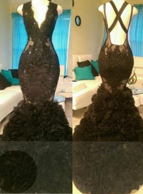 Glamorous Black Mermaid Appliques V-Neck Open-Back Tulle Prom Dress_2