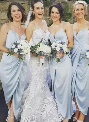 Spaghettis-Straps Sky-Blue Ruffles Sheath Slit Bridesmaid Dresses_2