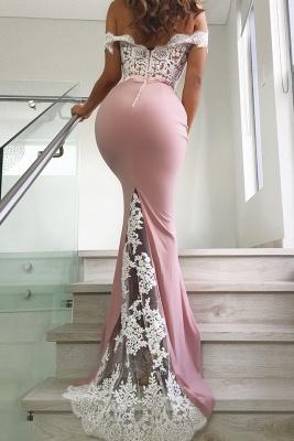 Pink Off Shoulder Sexy Lace Long Mermaid Prom Dresses | Elegant Evening Dresses_3