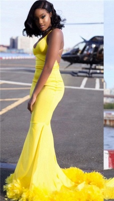 Chic Yellow Mermaid Prom Dresses   V-neck Feathers Train Party Dress_1