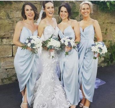 Spaghettis-Straps Sky-Blue Ruffles Sheath Slit Bridesmaid Dresses_3