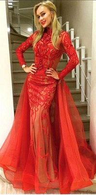 Sexy Red Long Sleeve Evening Dress 2019 Tulle Mermaid Lace_1