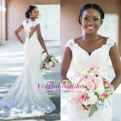 Sleeveless Tulle Long-Train Glamorous Lace Sexy Column V-neck Wedding Dress_1