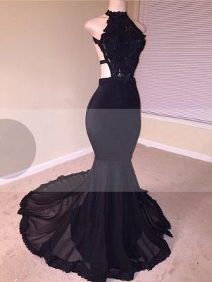 Chic Open Back Lace Black Mermaid Long Prom Dresses_1