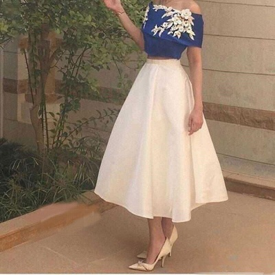 Off-The-Shoulder Elegant Appliques Tea-Length Two-Pieces Prom Dress_3