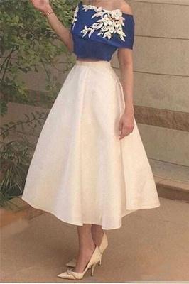 Off-The-Shoulder Elegant Appliques Tea-Length Two-Pieces Prom Dress_2
