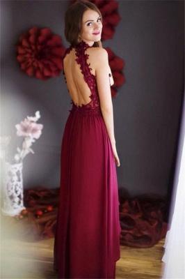 Floor-length Halter Chiffon Sleeveless Lace Sheath Burgundy Prom Dress_3