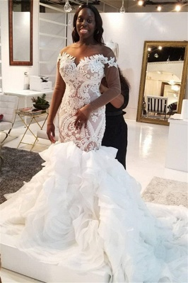 Jewel Lace Mermaid Wedding Dresses with Tiered Train and Long Sleeves_1