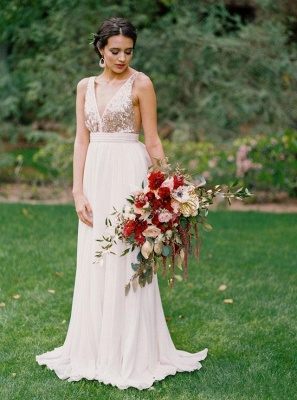 Sequined Wedding Dress with Bowknot | Casual Wedding Dresses for Beach Ceremony and Barn Wedding_4