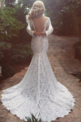 Long Sleeves Open Back V-neck Sexy Mermaid Lace Wedding Dress_3