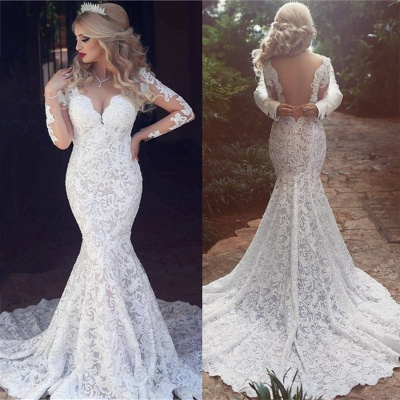 Long Sleeves Open Back V-neck Sexy Mermaid Lace Wedding Dress_4
