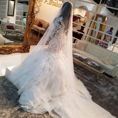 Jewel Lace Mermaid Wedding Dresses with Tiered Train and Long Sleeves_4