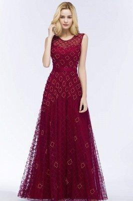 Elegant A-Line Evening Dresses   Scoop Sleeveless Beading Long Formal Dresses_4