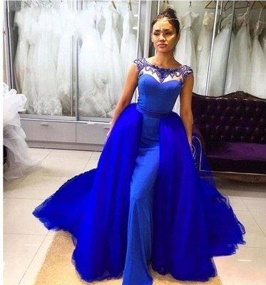 Royal Blue Sleeveless Prom Dresses | Long Beading Mermaid Evening Gowns_3