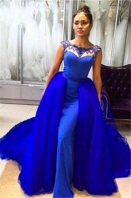 Royal Blue Sleeveless Prom Dresses | Long Beading Mermaid Evening Gowns_1