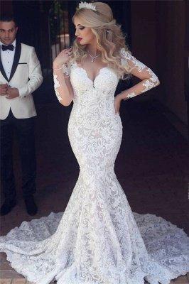 Long Sleeves Open Back V-neck Sexy Mermaid Lace Wedding Dress_1